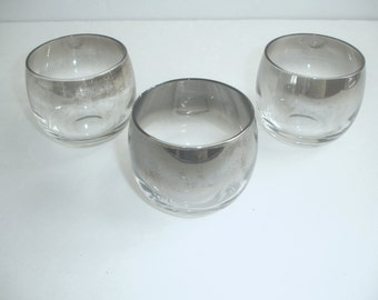 Roly Poly  Silver Fade Glasses  Set of 3  Mad Men Barware  Mid Century Modern