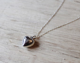 Silver Vintage Puffy Heart Pendant, Sterling Silver Chain, Silver Heart Necklace