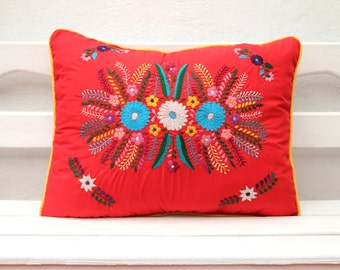 Red and Yellow Puebla Collection  Sham created from huipil kaftans