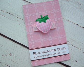 ONE DOLLAR CLIP Pink Gingham Strawberry Baby Snap Clip No Slip