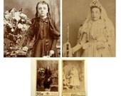 Girl of Mourning Darkness. Girl of Church Lightness. Two Victorian Cabinet Cards of Opposite Girls. 1870s. First Communion and Funeral(?)