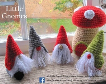 ENGLISH Instructions - Instant Download PDF Crochet Pattern - Little Gnomes with Mushroom Houses