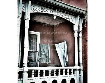 "12"" x 18"" Rustic Porch Laundry Canvas Print"