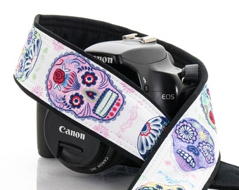 Sugar Skulls dSLR Camera Strap, Dia de los Muertos, Day of the Dead, SLR, Canon, Nikon, Mirrorless,112 a