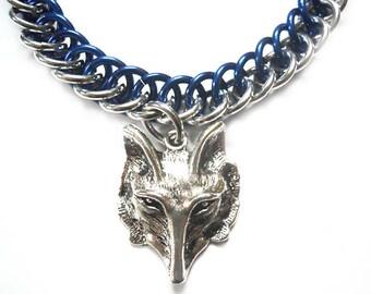 Wolf bracelet, Blue and silver wolf jewelry, Wolf's head charm, Werewolf bracelet, Half persian 3-in-1 chainmaille bracelet