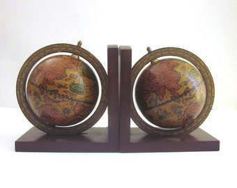 Vintage Globe Bookends Office Library Decor
