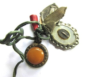 Priest Nuns Medal Saints Medals Religious Charms Ribbon Vintage Amber Celluloid