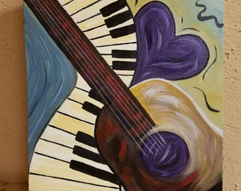 Hand painted Love of Music painting