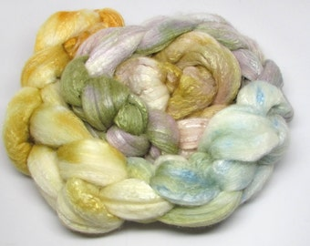Merino/Bamboo Roving Hand Dyed Mustard Olive Sage  5 ounces