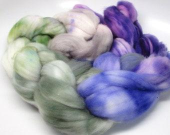 Super Wash Merino Roving   Hand dyed  Hyacinth, Moss, Steel