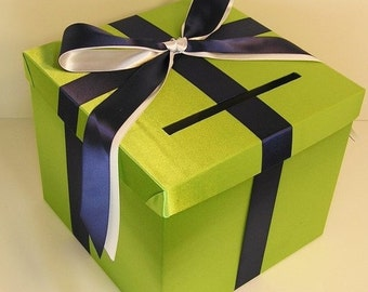Wedding Card Box Lime green and Navy blue  Gift Card Box Money Box Holder--Customize your color