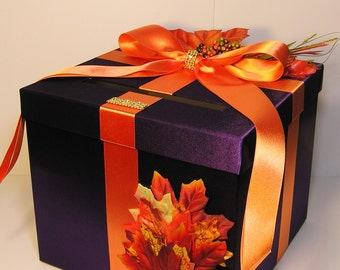 Wedding  Card Box Fall Gift Card Box Purple and Orange Money Box Holder-Customize/made to order (10x10x9)