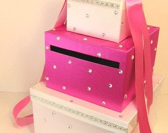 Wedding  Card Box Hot pink and White  Gift Card Box Money Card Box Holder-CustomizeYour color