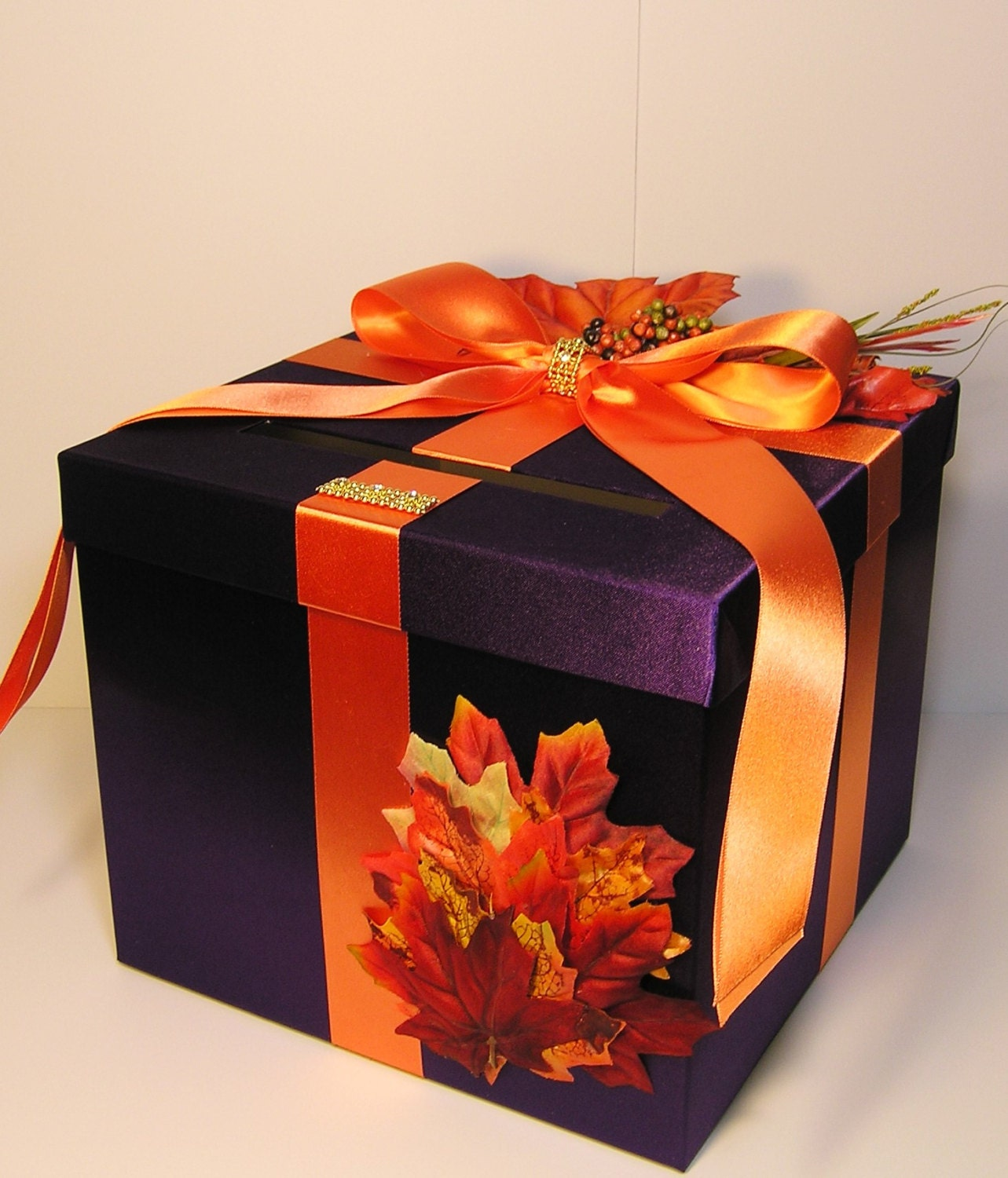Fall Wedding Gift Card Box : Wedding Card Box Fall Gift Card Box Purple and by bwithustudio