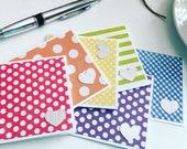 Rainbow colored  Mini Note Cards - Set of 6 - with white Envelopes