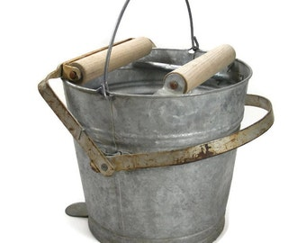 Galvanized Mop Bucket with Wooden Rollers
