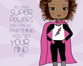 Girl with Super Powers // Art Print // Girls Room //African American