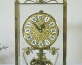 Vintage Brass and Glass Mantle Clock, Kieningers & Obergfell Made in Germany Kundo Decorative Clock in Case