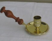 Baldwin Brass Chamberstick with Wood Handle, Candlestick Candleholder, American Heritage Collection, Historical Reproduction,