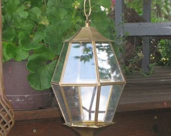 Vintage Hanging Brass and Glass Lantern, Terrarium, Candle Curio Plant Artifact Display Box, Brass Chain Asian Garden Room Decor 2 available