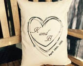 Feed Sack Decorative Pillow Barbed Wire Heart Custom