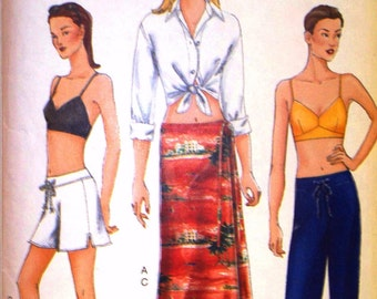 vogue pattern 7305 ~ misses shirt, top, skirt, shorts and pants ~ (2000) ~ UNCUT