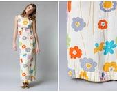 1960s Cotton Maxi Dress / Marimekko Style Print / Babydoll Maxi Dress