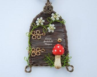Woodland Grove pendant, fairy door pendant, toadstool necklace, wire pendant, fairy door necklace, nature inspired