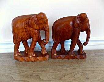 Wood Elephants, Elephant Figurines, Wooden Elephants, Bookends, Vintage, Home Decor, Elephant Statutes, Elephants, Large, Solid Teak Wood