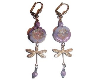 Dragonfly Czech Glass Flower Dangle Earrings Nature Inspired Boho