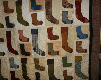Twin size Quilt Throw Wall Hanging Socks Socks and more Socks 45
