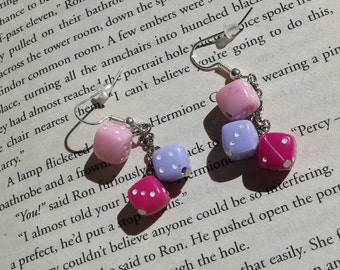 Dice Dangle Earrings - Pinks, Purples, Reds