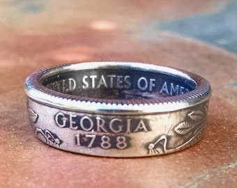 Georgia Quarter Ring - Coin Ring 2000 Quarter Dollar Coin Ring - Size: 6 1/2