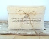 Ringbearer pillow . love is patient love is kind verse . natural fabric with twine