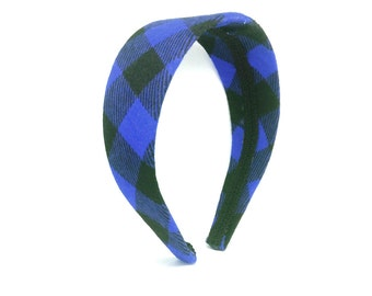 Wide Buffalo Plaid Checkered in Blue and Black - Girls Headbands, Adult Headbands, Preppy Plaid for Fall and Winter, Covered Hard Headband