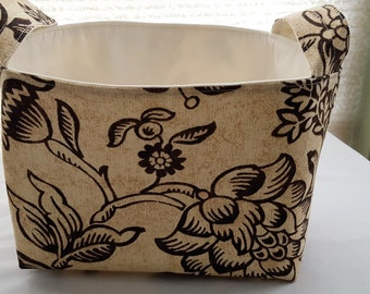 Fabric Organizer Basket Container Tan Brown Bin Caddy Storage -