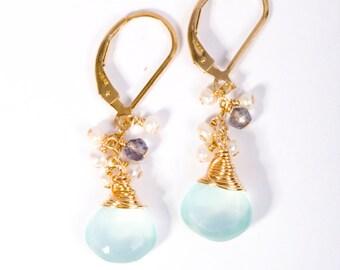 Bridesmaid Earrings, Wedding Earrings, Beach Wedding, Mint Earrings, Cluster Earrings, Pearl Earrings, Gold Earrings, Gold Jewelry, Gold