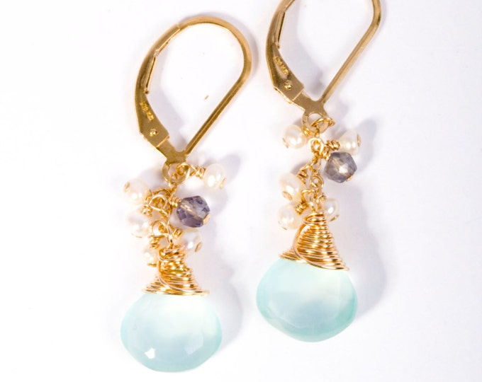 "Featured listing image: ""Sanibel"" Mint Cluster Earrings"