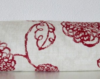 Bolster Pillow Cover - Red - Cream - Floral - Adele Print -  bolster pillow case