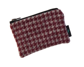 Harris Tweed coin-purse in pink & light grey houndstooth