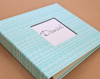 SALE // Baby Book/Baby Gift/ Baby Journal/Flawed Fabric Album - Teal Stitches Print