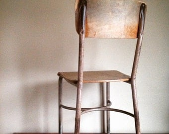 Industrial Chic.  Metal and Wood High School Chair.