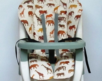 Graco high chair cover, kids and baby feeding chair pad, baby accessory, chair pad replacement, nursery decor, child care, safari, jungle