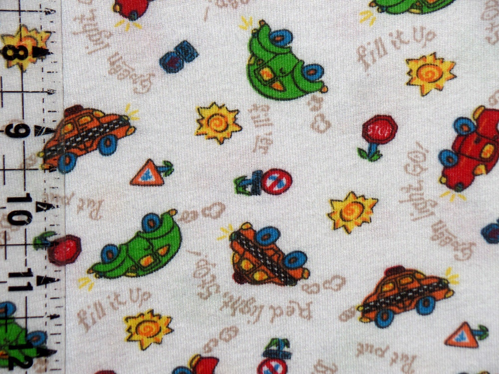 kids cotton knit fabric transportation print fabric boys