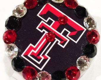 Texas Tech Swarovski Crystal Embellished Retractable Name Tag ID Badge Reel
