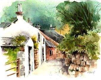 Watercolor - Original watercolour - English village