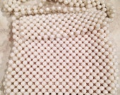 Vintage white beaded purse bag handbag