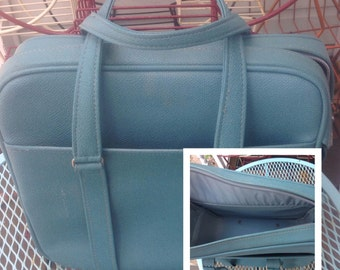 Vintage blue carry on luggage