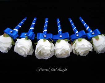 White Rose Boutonniere with Royal Blue, Mens Lapel Bloom, Nautical Wedding, 1 Groomsmen Buttonhole Flower