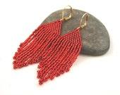 Short Beaded Fringe Earrings . Delica Seed Bead Jewelry . Red Fringe Earrings . Red Valentine Jewelry